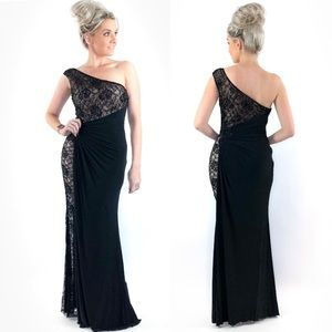 Black Lace Over Nude Evening Gown